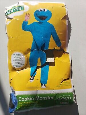 Adult Prestige Cookie Monster Costume Adult XL Removable head Blue Full Plush