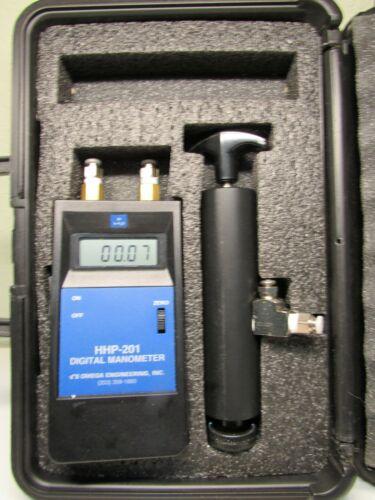 "OMEGA  ENGINEERING  HHP-201  MANOMETER 0- 20""H2O   MERRIAM 0-D0020IW"