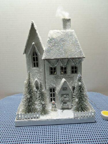 White Glittered Putz Christmas House with Silver Bottlebrush Trees & Light