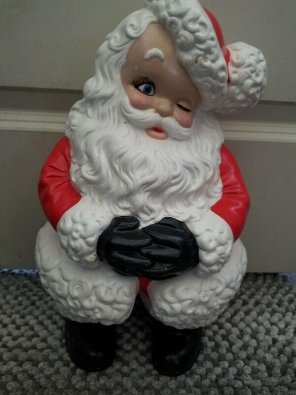 """Vintage Retro Atlantic Mold Ceramic Winking Santa Claus Figure 15"""" Large"""