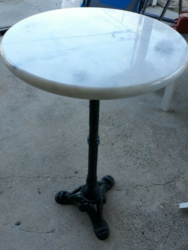 20th Century Italian Cast Iron Garden Pedestal Table with Marble Top