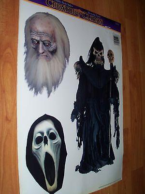 Creature Clings Halloween Window Decoration Vintage 3 pc Paper Magic NOS (Window Magic Halloween)