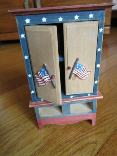 Dollhouse Miniature Cabinet Russ Berrie ODE TO AMERICA Flag Stars & Stripes Wood
