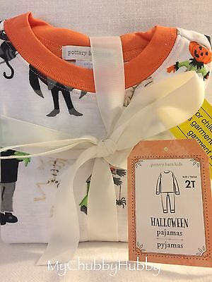 NWT Pottery Barn Kids ~HALLOWEEN~ Tight-Fit PAJAMAS (2T) GHOST~ PJs Sheets GHOST