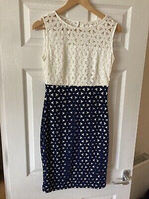 M&S Miami Refresh White/Navy Cut Out Dress Size 8 - BNWT