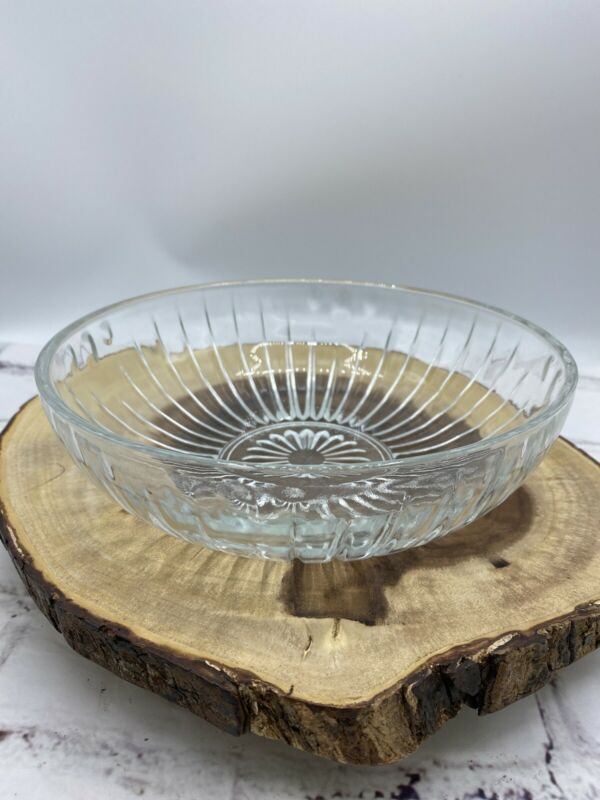 """E. O. Brody Co. Cleveland Ohio C933 Clear Glass Bowl Flower 8"""" Made in USA"""