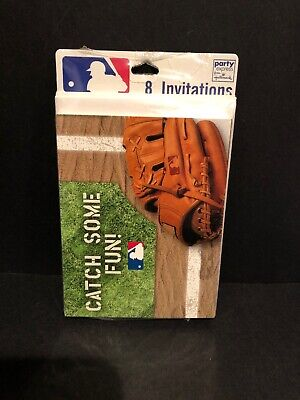 Baseball Party Invitations Party Express 8ct With Envelopes NEW - Baseball Invitations