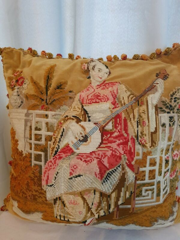 antique needlepoint C1860s.cushion/pillow of oriental girl woolwork needlework