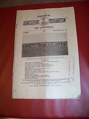 August 1915 DEPARTMENT of AGRICULTURE IMMIGRATION of Virginia LOVINGSTON