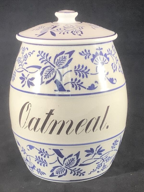 Vintage GMT & Bros. White Blue Onion Porcelain Ceramic Oatmeal Canister Germany