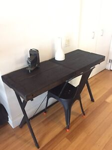 VINTAGE RECLAIMED WOOD & STEEL OFFICE DESK / CONSOLE TABLE