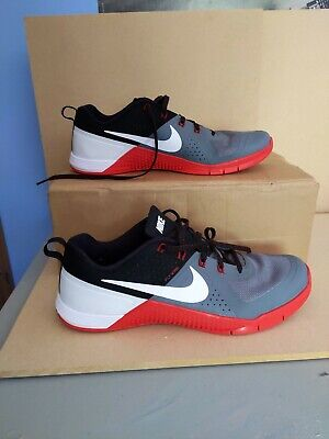NIKE FLYWIRE METCON RED/BLACK/GREY - TRAINING SHOES UK SIZE 12- CROSSFIT RARE