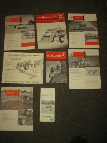 8 Vintage ALLIS-CHALMERS Advertising Leaflets, Stored Long Time-Shabby Edges