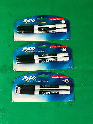Expo Low Odor Fine Tip Dry Erase Markers Lot Of 6 Black