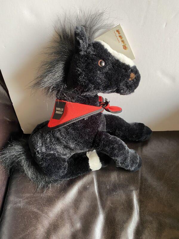 NWT Wells Fargo Al black plush horse White Nose Stuffed Animal Pony Fur Bandana