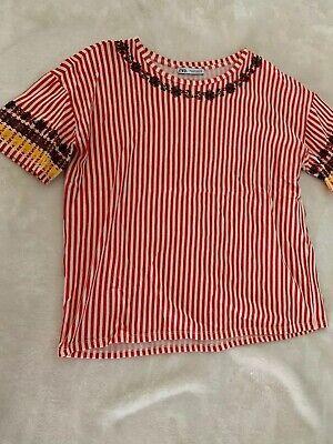 Women's Zara Red White Striped Short Sleeved Top Shirt Blouse  Sz M