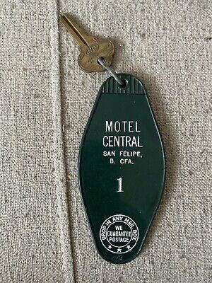 old motel key and key chain, motel central san felipe motel keychain,