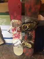 2 snowboards and boots for sale
