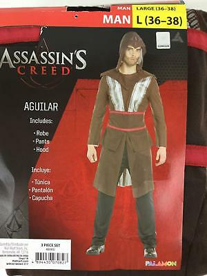 Assassins Creed Aguilar Costume Men's Large NIP Robe Hood Pants Halloween 3 Pc](Assassins Creed Halloween Costume)