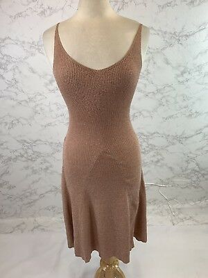 Anthropologie Intropia Women's Pink Metallic Knitted Dress Size Small