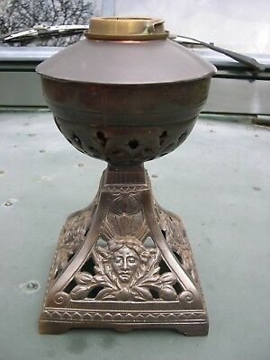 VICTORIAN CAST IRON & COPPER OIL LAMP FONT AND BASE 1889 DUPLEX BAYONET COLLAR