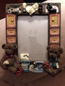 Baby picture frame with teddy bears $10
