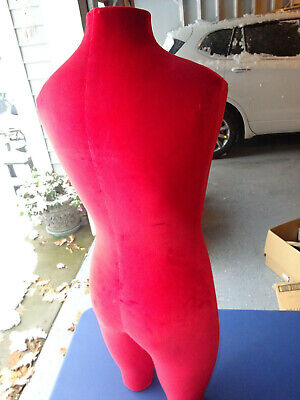 Vintage 36 Inch Tall Male Cloth Covered Wood Mannequin Neck To Knees