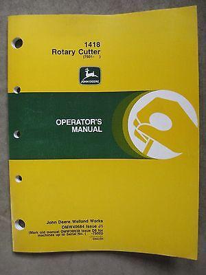 John Deere 1418 Rotary Cutter Operators Manual