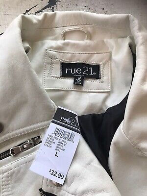 Rue21 Women's White Faux Leather Jacket L NWT Defects