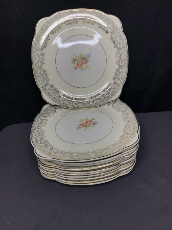 "Vintage Paden City Pottery PCP9 Floral 11 8"" Square Salad Plates. Crazing."