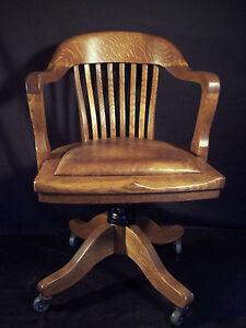 Antique B L Marble Oak Swivel Captains Office Chair