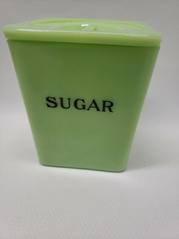 Vintage Jeannette Jadeite Green Jadite 29 Oz Sugar Canister Rare