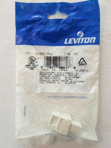 41085-MWC SC Adapter LEVITON QuickPort Simplex White MM Phosphor Bronze Sleeve