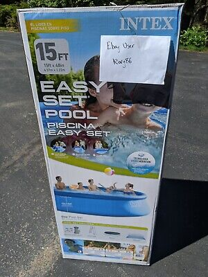 IN HAND Intex 15ft x 48in Easy Set Pool with Filter Pump, Ladder, Cloth, & Cover
