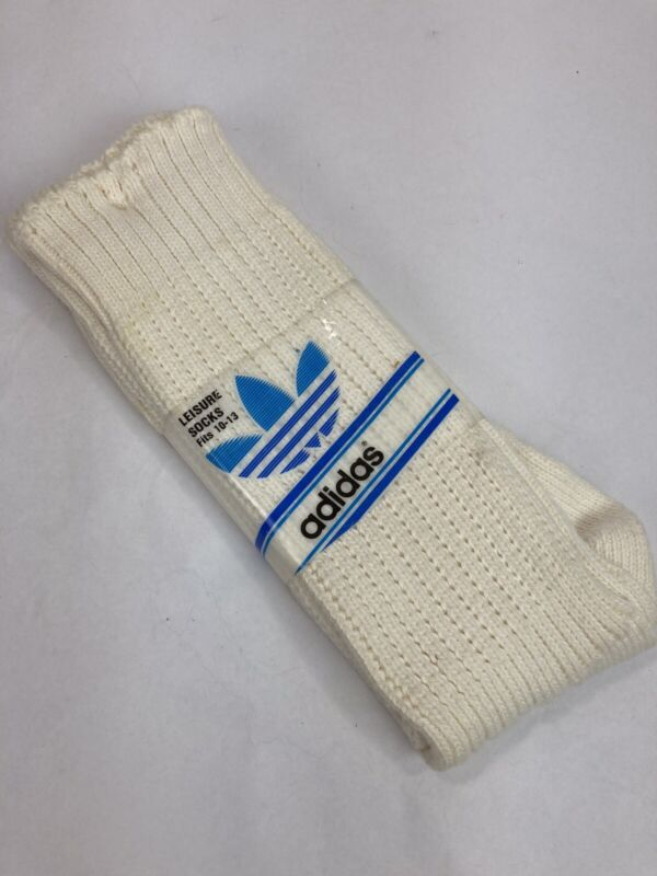 NOS Vintage Adidas 70s 80s Sport Leisure Cotton Tube Socks Sz 10-13