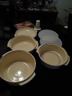 TUPPERWARE MICROWAVE STACKABLES COMPLETE SET WITH COOKBOOK