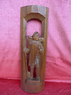 pretty,old Wood Picture__Beeping guy__wood carved___63 x 19cm___