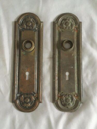 Antique Pair Brass Door Knob Backplates Old Ornate Vtg Hardware 223-20E