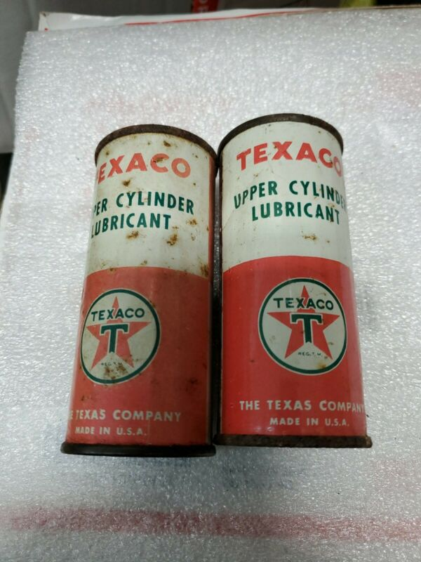 (2) Vintage Cans of Full 4 Ounce TEXACO Upper Cylinder Lubricant