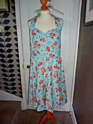 FIFTIES CHIC SIZE XXL BLUE/PINK FLORAL HALTER NECK DRESS BNWT - Pink Fifties Dress