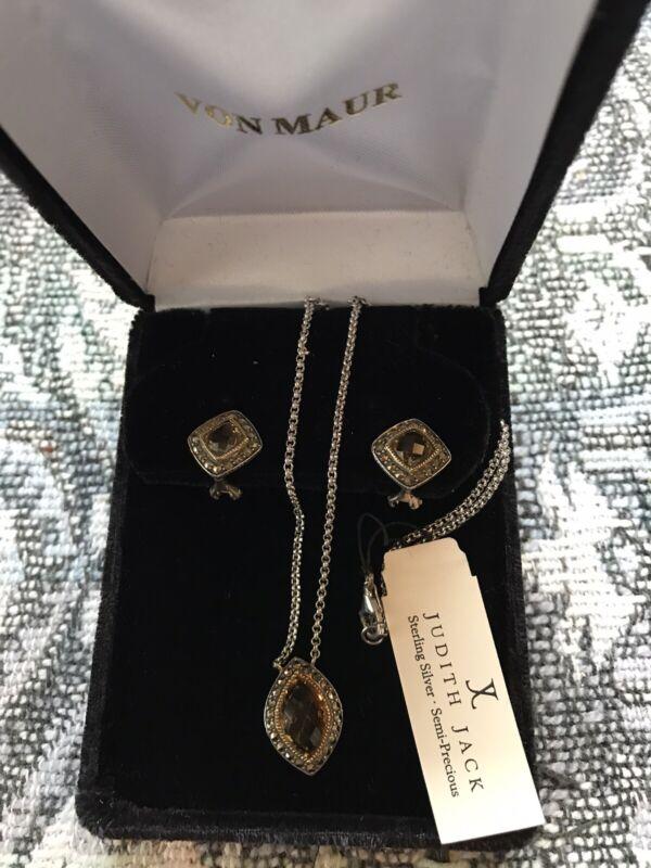 NIB Judith Jack Necklace & Earrings Set with Citrine Stones