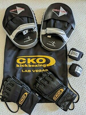 Century CKO kickboxing MMA Boxing mitts, gloves,Everlast hand wraps and logo bag