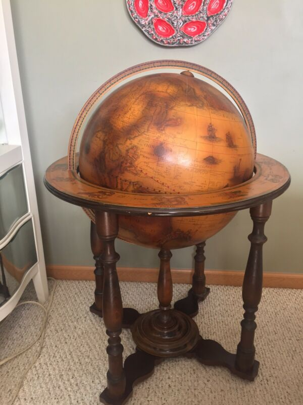 """Vintage Antique 1744 Globbo Terraqveo 36"""" Globe On Wood Stand Base W Astrology"""