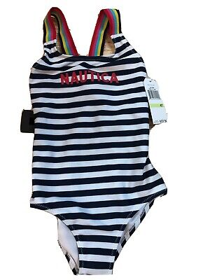 NWT Nautica Girl's 4T One-Piece Swimsuit Navy Blue/White Striped UPF 50+
