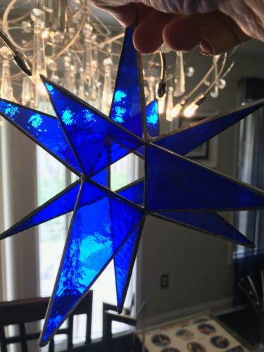 "LARGE 10"" STAINED GLASS MORAVIAN STAR COBALT BLUE GLASS SUNCATCHER"