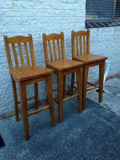 Lovely Pine Bar Stools X 3 Part 22