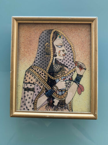 Unique Framed Handmade Gemstone Painting The Veiled Woman From India - $19.99