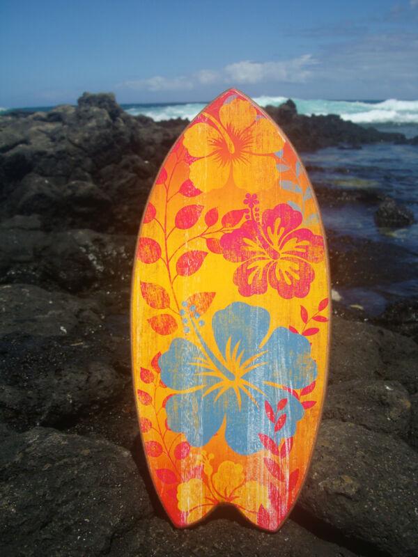 Hawaiian Floral Surfboard Sign Tropical Island Beach Surfing Home Decor NEW