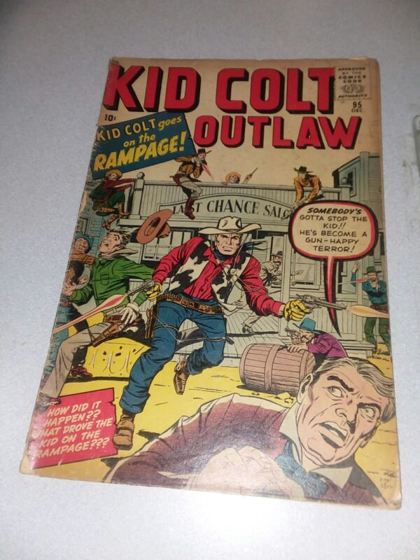 KID COLT OUTLAW #95 marvel atlas comics 1960 jack KIRBY COVER silver age western