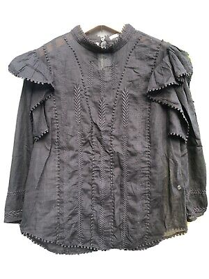 Isabel Marant Black Embroidered Frill Size 40